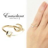 Enasoluna(エナソルーナ)Twinkle Ring(Moon) 【EN-RG-884(Moon)】 K10 10金 ホワイトトパーズ イエローゴールド ピンキーリング ファランジリング 関節リング 3号 指輪 月 リング ゴールド
