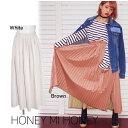 あす楽 50%OFF! セール Honey mi Honey ハニーミーハニー leather pleats skirt 16秋冬16A-TA-02 ロング・マキシスカート