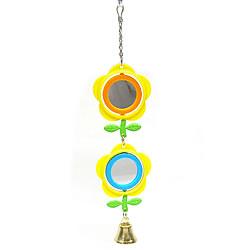 フラワーミラー/おもちゃ バードトイ 鏡 ベル 鈴 小鳥 オカメ セキセイ 文鳥 インコ