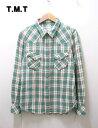 ショッピングダブルガーゼ S GREEN【TMT ダブルガーゼウエスタンチェックシャツ】TSH-F1102AX