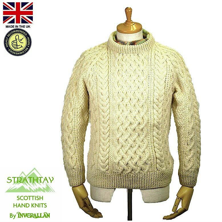 STRATHTAY By INVERALLAN【ストラステイ バイ インバーアラン】1A Crew Neck Sweater クルーネック セーター Natural スコットランド製 2016年 秋冬入荷商品