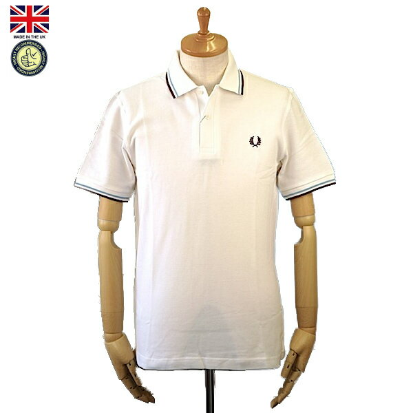 Fred Perry フレッド・ペリー M12 Men's Twin Tipped Fred Perry Polo Shirt 120 White/Ice/Maroon メンズ ツイン ティップ フレッドペリー ポロシャツ 半袖ポロシャツ 英国製 2018年 春夏入荷商品