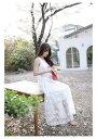 ショッピングマキシ 高品質 レース ワンピース マキシ丈 乙女 白 ホワイト 花柄 結婚式 レースワンピース レデイース 162094