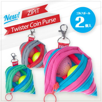ZIPIT Golf Ball Holder with 2 Golf Balls (Pink 1, Yellow 1).