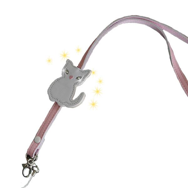 牛革/レザーネックストラップ/猫