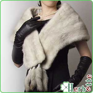 條紋可移動 2 路貂皮圍巾索菲亞顏色女士禮品的襯砌