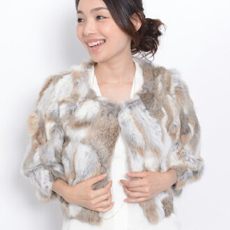 All 12 color 4 size rabbit three-quarter-length fur jacket