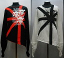 パンク カットオフ 長袖Tシャツ SAT702 ユニオンジャック&ドクロ柄 黒・白
