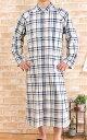 メンズ ロング丈スリーパー前開きパジャマ 暖かフリース地チェック 【防寒向き素材】