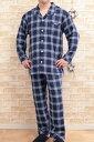 【送料無料】 綿100%ダブルガーゼ地メンズパジャマ【長袖・長パンツ】【春・夏向き商