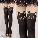 【あす楽】 ストッキング タイツ カラータイツ 猫 猫柄 猫...
