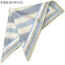 ポケットチーフ エミリオプッチ メンズ EMILIO PUCCI プッチ柄シルクポケットチーフ(サイズ32×32cm)eep19w126 ブルー