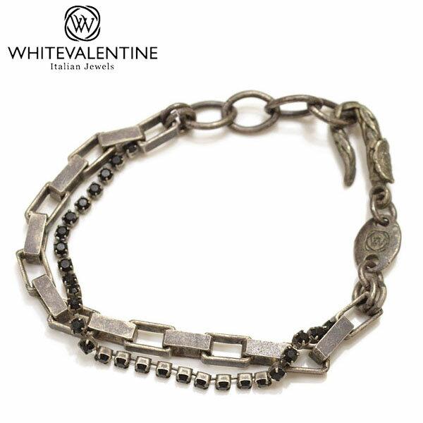 WHITE VALENTINE ホワイトバレンタイン メンズ/レディース 編み込みチェーンブレスレット サイズ/F/ wb038 OTBR 10323:グレー
