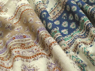 (売切re products) Japan-made rayon cotton vintage Boyle flower border print (blue, Beige) [wear-fabric 100 cm]