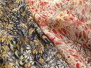 日本製 ポリエステル 75D シフォン楊柳 ワイルドフラワー (オフホワイト×赤、ネイビー×黄) P[オーダーカット生地 10cm単位]【あす楽対応】【HLS_DU】【RCP】