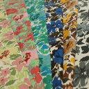 YUWA リネンコットン 平織り エアータンブラー仕上げ ほぐし調プリント バラ咲く庭 全6色 I[オーダーカット生地 10cm単位] 【RCP】