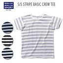 【WALLA WALLA SPORT/ワラワラスポーツ】 S/S STRIPE BASIC CREW TEE【メール便発送】