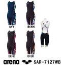 【SAR-7127WB】ARENA(アリーナ) レディース競泳練習水着 タフスーツ タフスキン ハーフスパッツ[競泳水着/女性用/練習用/長持ち]