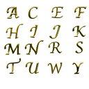アルファベット ネイル用メタルパーツ/人気の書体のイニシャルメタルパーツ 特に日本人女性の名前の頭文字に多い16文字 ゴールドorシルバー