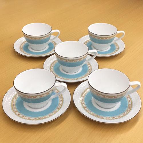 Noritake (ノリタケ) ハミングブルー ティー・コーヒーカップ&ソーサー 5客セット 【人気 ギフト 出産内祝 各種内祝 引出物 景品】