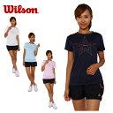 ウィルソン wilsonテニス バドミントン ウェア 半袖Tシャツ レディースロゴTシャツ W 14SUWRJ4872