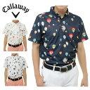 キャロウェイ Callawayゴルフ 半袖シャツ メンズMバルーンプリントワッフル半袖BDNポロ241-6157527