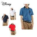 ディズニー Disney ゴルフウェア シャツ メンズ クレリック鹿の子リブ半袖ポロ 7232-6877