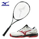 ミズノ ソフトテニスラケットセット ラケット テニスシューズ 張り上げ済み メンズ レディース TECHNIX 200 テクニクス ブレイクショット2 OC オムニクレー MIZUNO