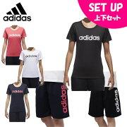 アディダス 半袖Tシャツ ハーフパンツ セット レディース SID リニアTEE + ハーフパンツ ETX95 + FSU06 adidas