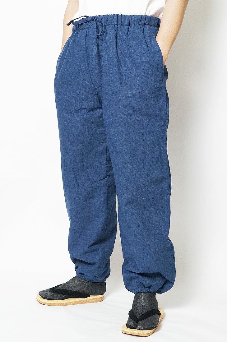 作務衣パンツ 冬 先染め裏フリース 作務衣パンツ-綿100% 紺-S/M/L/LL/3L/4L/5L 作務衣 メンズ 男性 紳士 ズボン もんぺ 作業着