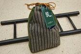 お洒落信玄袋 紬生地 細縞-緑−日本製