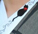 黒猫とツタ半衿☆刺繍 可愛い ねこ ひめ吉オリジナル半襟☆ワンポイント半襟☆「配送について」をお読みください★