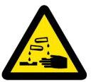 緑十字/(株)日本緑十字社 PL警告ステッカー 腐食性物質(腐食の危険性) 25mm三角 10枚組 PL-6(小) PL警告表示ラベル(簡易タイプ) 203006