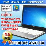 ��ťѥ������Windows7 Pro�ۡ�1ǯ�ݾڡ��ٻ��� A531/CXCorei3/����2G/15.6������վ�/DVD�ޥ����Microsoftǧ�깩��Ǻ������Ѥߡ��ۡ�����̵���ۡ���š�