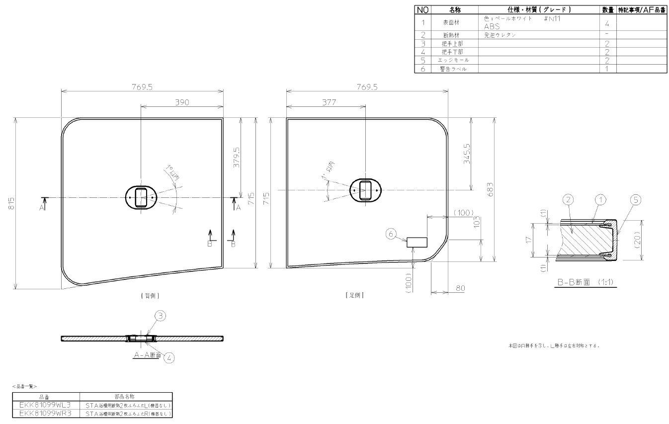 TOTO(トートー)STA浴槽用断熱2枚ふろふたRタイプAFKK81099WR3
