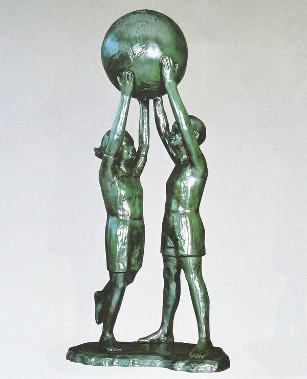 大型ブロンズ像/大望の像 40号 般若純一郎作品 送料無料