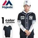 Majestic Athletic マジェスティック フェイクレイヤード ベースボールシャツ メッシュ NEWYORK YANKEES (1色) MM21-NYK-0017 【majestic ベースボールシャツ ヤンキース スポーツ ストリート 大きいサイズ】【あす楽対応】 【メール便対応】