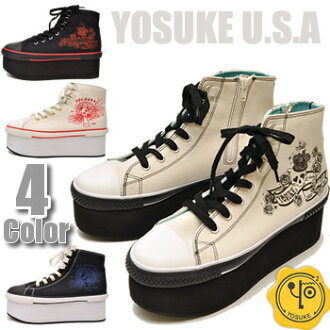 «Arrival after the special price! » Thickness bottom sneakers color studded skull YOSUKE U.S.A (Yosuke shoes) ladies sneaker punk * black Combi is terminated.