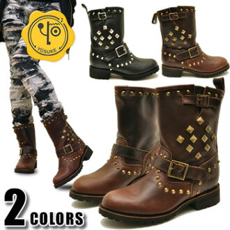 Mid-length ladies leather engineer boots with studs YOSUKE Yosuke * your order after 2-4 days after the delivery to be.