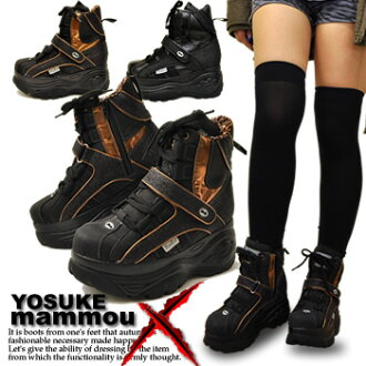 In thick-soled platform sneakers panther pattern lam gold YOSUKE ヨースケ X mommou スケッチャーズファン! Shoes high sole sneakers heel up high sole