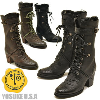 Tank military United Kingdom style lace-up boots YOSUKE U.S.A shoes ( Yosuke ) sole lace-up boots ladies boots leather