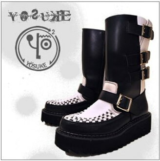 Leather belted Like A Cox middle-length platform boots YOSUKE U.S.A Yosuke shoes shopping spring boots