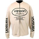 VS13606S バンソン (VANSON) ロングスリーブメッシュTシャツ 白/黒 Lサイズ