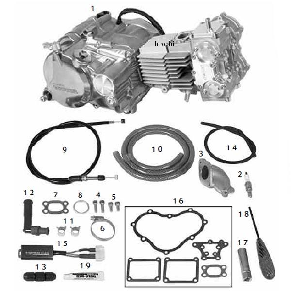 SP武川 コンプリートエンジン DESMO 4V 124cc/SS5速/25-20カム モンキー/ゴリラ 01-00-9440 HD店