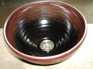 真山窯 陶芸手洗い鉢 黒天目 24cm 小