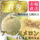 食品 - 市場直送 島根県 益田産 アールスメロン 青秀 2L 5玉 約8kg 糖度保証 12度以上