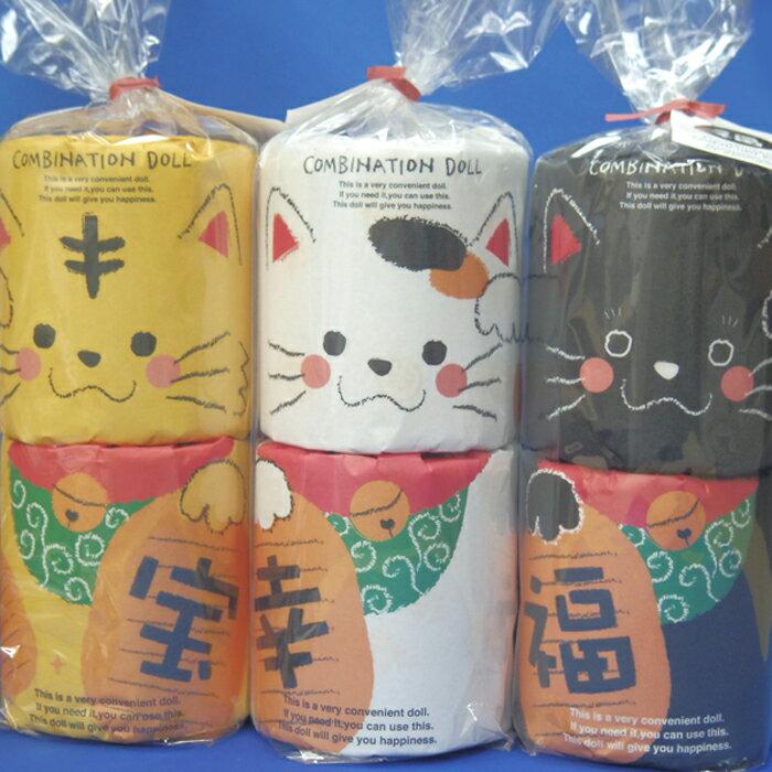 福を呼ぶユニークな招き猫3体セット三毛猫(白猫)...の商品画像