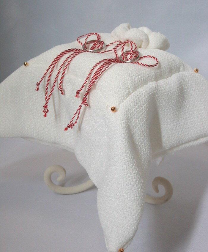 和風のリングピロー「雅」(完成品)直径26cm【結婚式 白無垢 和装 着物】