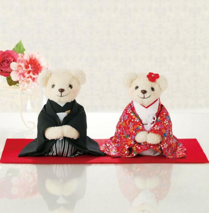 しあわせいっぱい・和装のくまさん(赤)完成品/金屏風・赤もうせん付き【結婚式 ウェルカムドール】