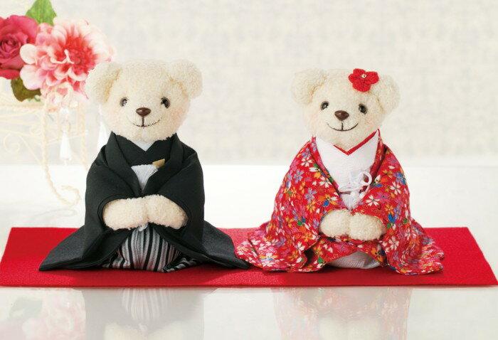 しあわせいっぱい・和装のくまさん(赤)手作りキット【結婚式 ウェルカムドール ウェディングベアの手芸パック】